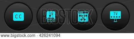 Set Subtitles, Mp3 File, Video Recorder Or Editor And Smart Tv Icon. Vector