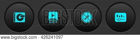 Set Vinyl Player With Vinyl Disk, Mov File, Mute Microphone And Music Equalizer Icon. Vector