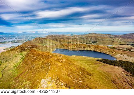 Aerial View Of Lough Na Lughraman Seen From Slieve Tooey In County Donegal - Ireland