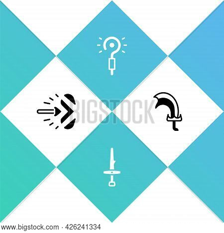 Set Magic Arrow, Dagger, Wand And Sword For Game Icon. Vector