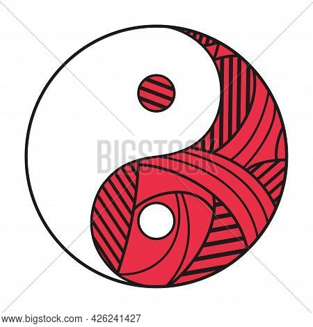 Yin And Yang. Religious Symbol. Religion. Hand Drawn Circle Sign On Isolation Background