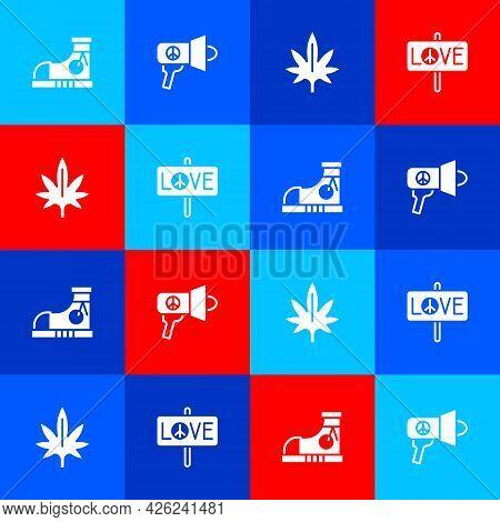 Set Sneakers, Megaphone, Marijuana And Peace Icon. Vector