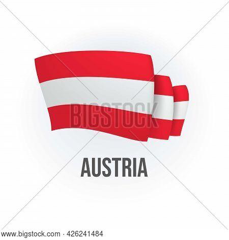 Vector Flag Of Austria. Austrian Waving Flag. Vector Illustration.