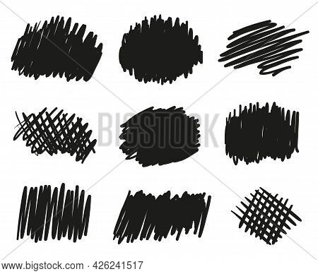 Hand Drawn Hatching. Abstract Simple Strokes By Hand. Black And White Illustration