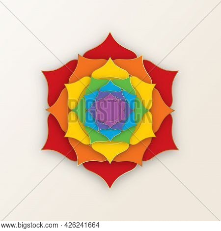 Sacred Lotus With The Seven Colors Of The Chakras For Yoga, Meditation And Spa Center. Set Of Mystic