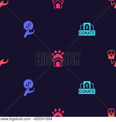 Set Donation And Charity, , Animal Shelter House And Blood Donation On Seamless Pattern. Vector