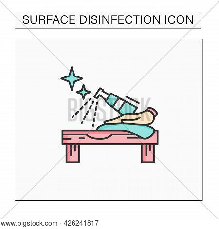 Surface Disinfection Color Icon.tabletop Cleaning With Antibacterial Spray.covid Infection Preventiv