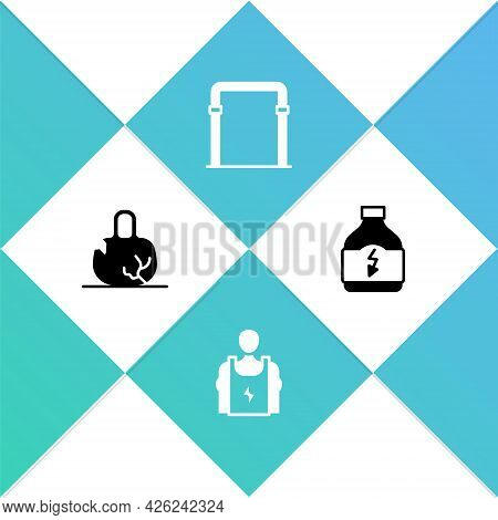 Set Broken Weight, Bodybuilder, Sport Horizontal Bar And Sports Nutrition Icon. Vector