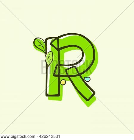 Eco Style Letter R Logo Hand-drawn With A Marker With Paint Shift Effect. Vector Cartoon Typeface Fo