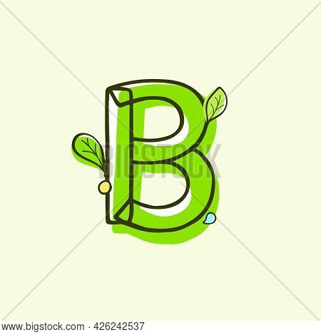 Eco Style Letter B Logo Hand-drawn With A Marker With Paint Shift Effect. Vector Cartoon Typeface Fo