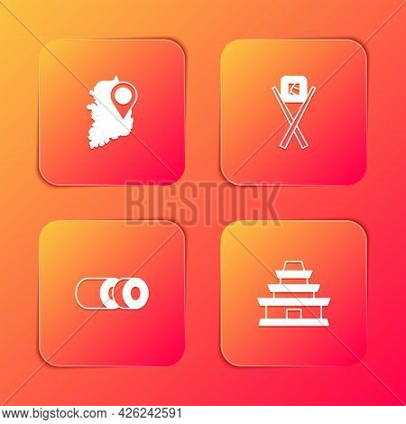Set South Korea Map, Sushi With Chopsticks, And Korean Temple Icon. Vector