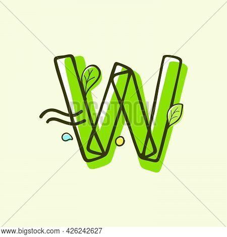 Eco Style Letter W Logo Hand-drawn With A Marker With Paint Shift Effect. Vector Cartoon Typeface Fo