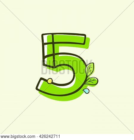 Eco Style Number Five Logo Hand-drawn With A Marker With Paint Shift Effect. Vector Cartoon Typeface