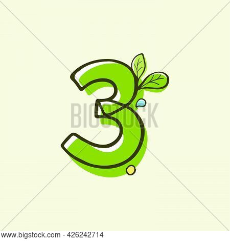 Eco Style Number Three Logo Hand-drawn With A Marker With Paint Shift Effect. Vector Cartoon Typefac