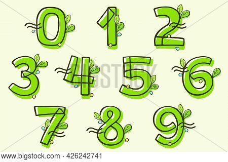 Eco Style Numbers Set Hand-drawn With A Marker With Paint Shift Effect. Vector Cartoon Typeface For