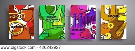 Set Of Modern Abstract Covers, Minimalistic Cover Designs. Colorful Geometric Background, Vector Ill