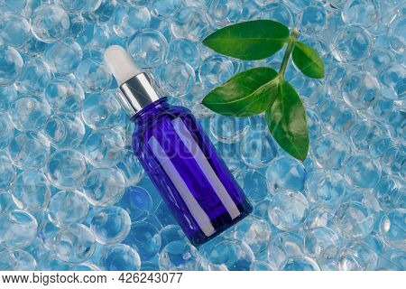 Mockup Blue Dropper Bottle With Natural Organic Herbal Cosmetic Oil Or Hyaluronic Acid On Blue Backg