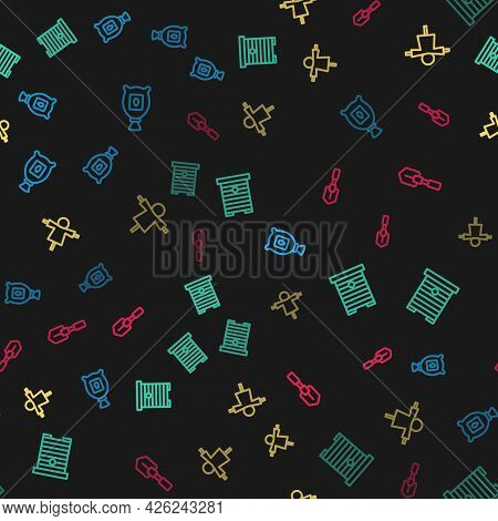 Set Line Pack Full Of Seeds Of Plant, Hive For Bees, Scarecrow And Shovel On Seamless Pattern. Vecto