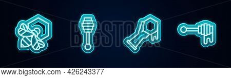 Set Line Bee And Honeycomb, Honey Dipper Stick, Honeycomb Hand And With. Glowing Neon Icon. Vector