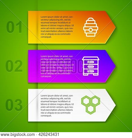 Set Line Hive For Bees, And Honeycomb. Business Infographic Template. Vector