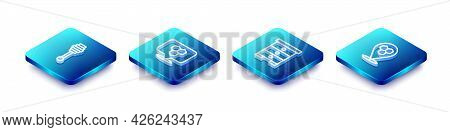 Set Isometric Line Honey Dipper Stick, Honeycomb Bee Location, Hive For Bees And Icon. Vector
