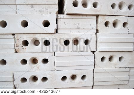 Gypsum Hollow Pazogrebnevye Plates For Partitions Or Internal Walls Are Stacked On The Construction