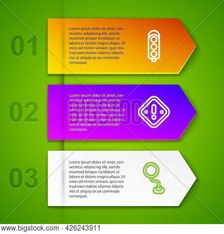 Set Line Traffic Light, Exclamation Mark In Triangle And Road Traffic Sign. Business Infographic Tem