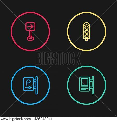 Set Line Parking, Road Traffic Sign, Traffic Light And Turn Right Icon. Vector