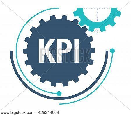 Kpi - Key Performance Indicator In Gear Cogwheel Metaphor. Metrics Strategic Plan. Work Evaluation S