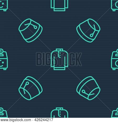 Set Line Shirt Kurta, Turkish Hat And Donate Or Pay Your Zakat On Seamless Pattern. Vector
