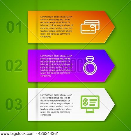 Set Line Credit Card, Diamond Engagement Ring And Monitor With Dollar. Business Infographic Template