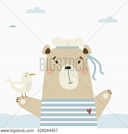 Cute Bear Sailor In A Striped Vest And Hat With A Seagull At The Sea. Vector Illustration. Poster Wi