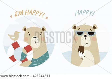 Set Of Cute Bears At The Sea. Animal In Sunglasses Eats Ice Cream And With A Lifebuoy And A Seagull.