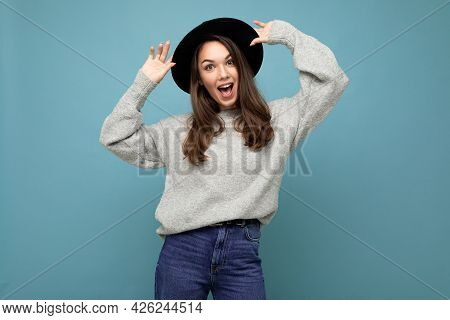 Portrait Of Young Positive Happy Beautiful Brunette Lady With Sincere Emotions Wearing Stylish Grey