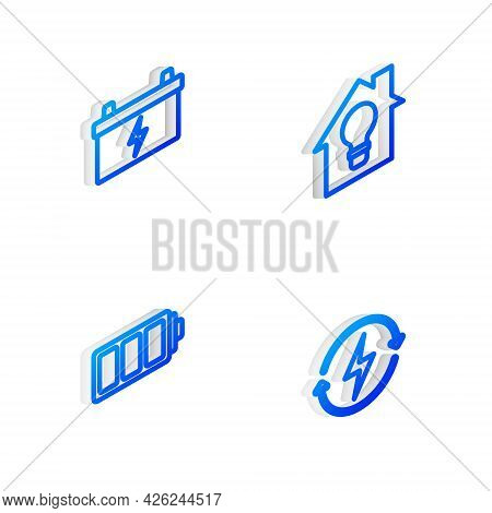 Set Isometric Line Smart House And Light Bulb, Car Battery, Battery And Recharging Icon. Vector