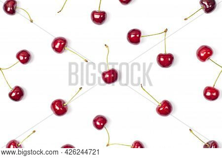 Big Sweet Cherry Pattern On A White Background. Sweet Cherries Close Up. Summer Flat Lay Berry Backg