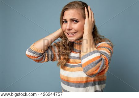 Photo Of Young Emotional Angry Pretty Nice Blonde Curly Woman With Sincere Emotions Wearing Casual S