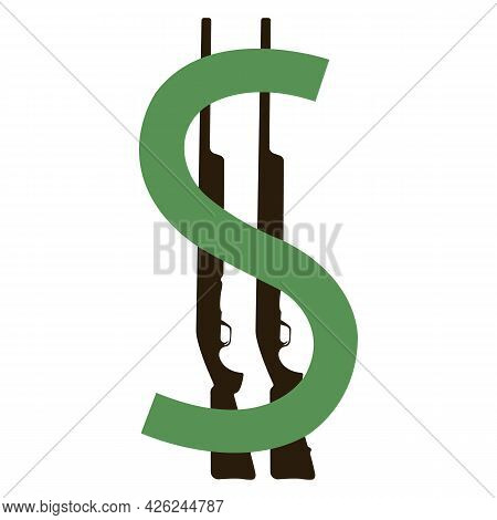 Silhouette Of A Green Dollar And Two Rifles. Finance And Banking Concept. Design Is Suitable For Web
