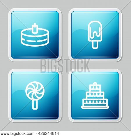 Set Line Cake With Burning Candles, Ice Cream, Lollipop And Icon. Vector