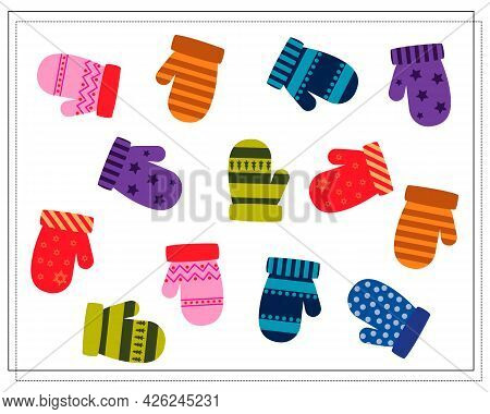 A Logical Game For Children. Find A Pair For A Mitten. Vector Isolated On A White Background