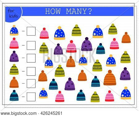 Math Game For Kids. Worksheet, Count How Many Caps. Vector Isolated On A White Background