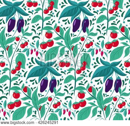 Seamless Pattern With Vegetables And Foliage. Vector Texture With Eggplants, Cherry Tomatoes With Do