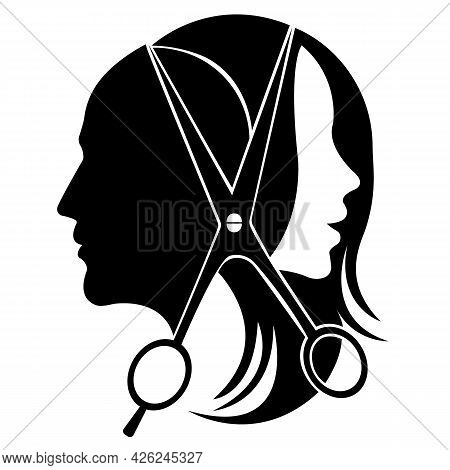 Silhouette Of A Man And A Woman In The Middle Of The Scissors. Design Is Suitable For Logo, Biber Sh
