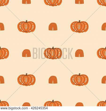 Pumpkin Rainbow Fall Seamless Pattern. Cute Autumn Harvest Background Thanksgiving Decorative Pumpki