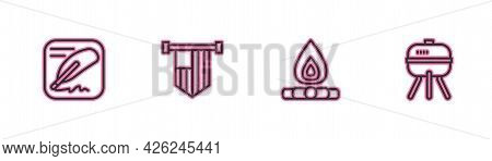 Set Line Declaration Of Independence, Campfire, American Flag And Barbecue Grill Icon. Vector