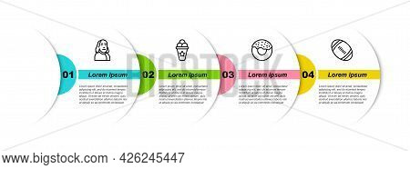Set Line Benjamin Franklin, Ice Cream Waffle Cone, Donut And American Football Ball. Business Infogr