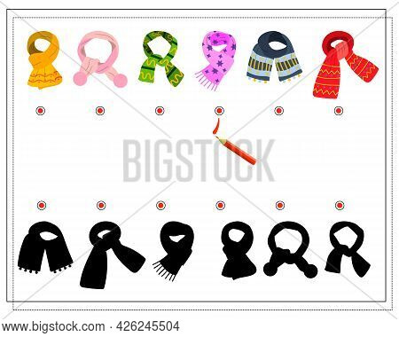 A Logical Game For Children. Find The Right Shade, Winter Scarves Of Different Shapes. Vector