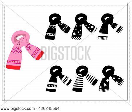 A Logical Game For Children. Find The Right Shade, A Pink Winter Scarf With An Ornament. Vector