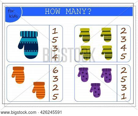 Math Game For Kids. Count How Many Mittens. Vector Isolated On A White Background