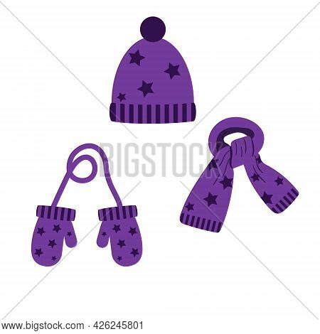 Set Of Hat, Scarf, Purple Mittens With Stars, Winter. Vector Isolated On A White Background
